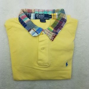 Polo by Ralph Laruen Yellow Plaid Collar Shirt XL